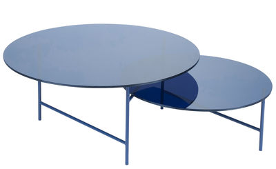Mobilier - Tables basses - Table basse Zorro / 2 plateaux - Verre - La Chance - Verre bleu transparent/ Pieds bleus - Acier laqué, Verre
