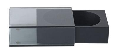 Déco - Boîtes déco - Boîte à bijoux Matchbox S / 10 x 16 cm - Bois & verre - Nomess - Noir / Gris transparent - Cuir suède, Frêne teinté, Verre fumé