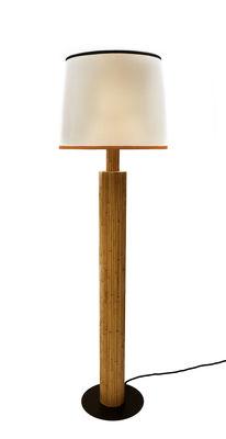 Riviera Stehleuchte / Rattan & Baumwolle - H 155 cm - Maison Sarah Lavoine - Weiß,Orange,Schwarz,Holz natur