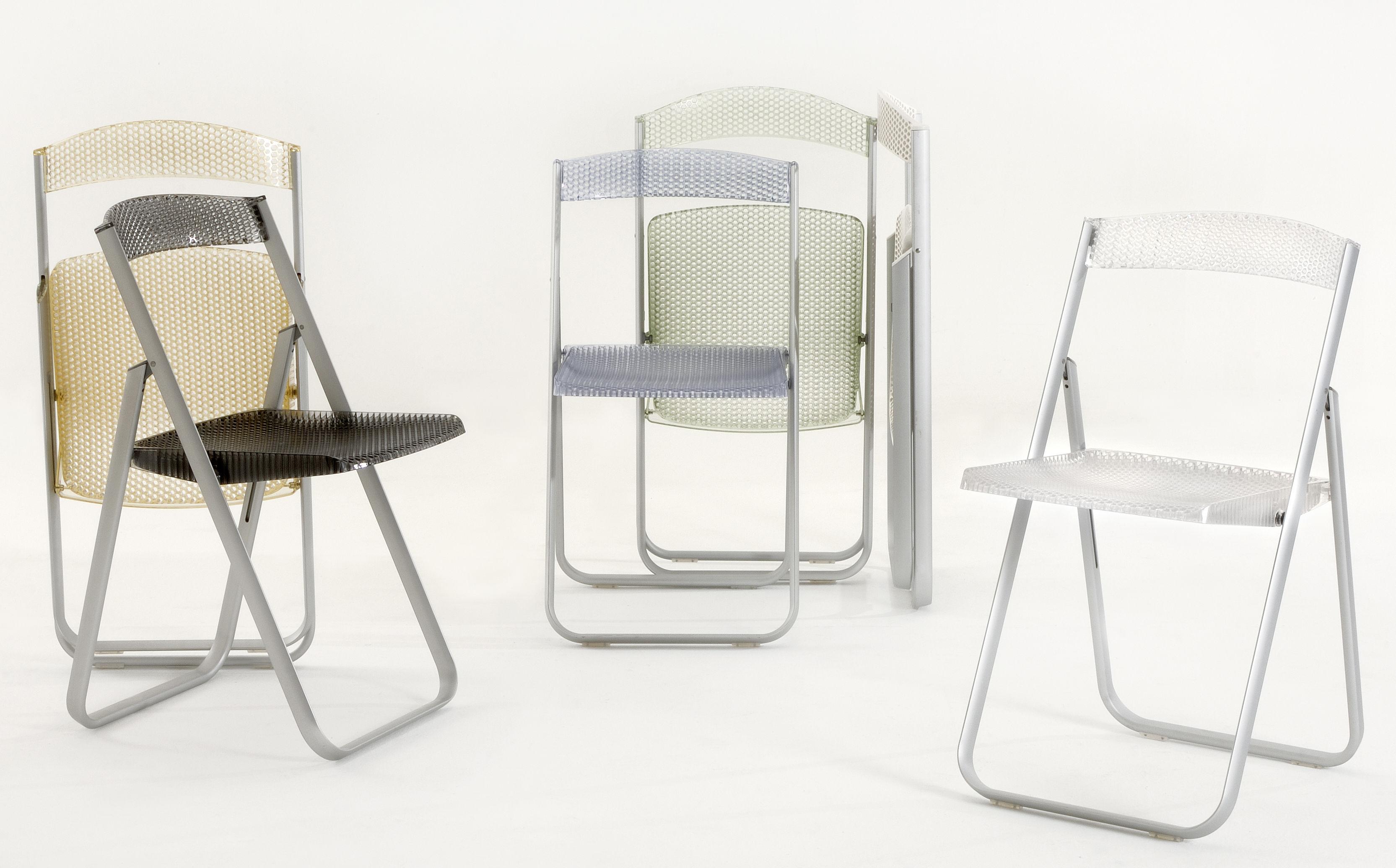 chaise pliante honeycomb transparente polycarbonate m tal cristal kartell. Black Bedroom Furniture Sets. Home Design Ideas