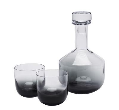 Arts de la table - Carafes et décanteurs - Carafe à whisky Tank / + 2 verres - Tom Dixon - Gris fumé - Verre soufflé bouche