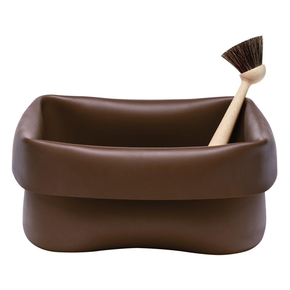bassine washing up bowl en caoutchouc avec brosse marron