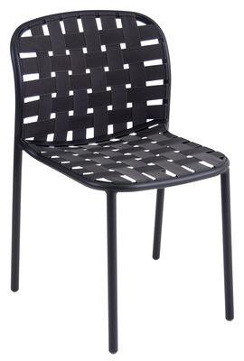 Mobilier - Chaises, fauteuils de salle à manger - Chaise empilable Yard / Sangles élastiques - Emu - Noir - Aluminium verni, Sangles élastiques