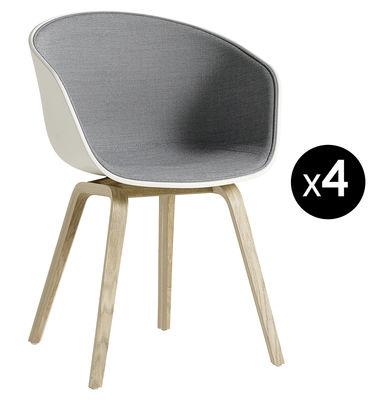 Poltrona imbottita About a chair AAC22 - /  Lotto di 4: 3 acquistate + 1 Offerta - Grigio,Crema,Rovere - Materiale plastico