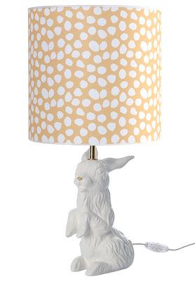 Luminaire - Lampes de table - Lampe de table Jeannot Lapin / Avec abat-jour - Domestic - Lapin blanc et or / Abat-jour pois - Coton, Terre cuite émaillée