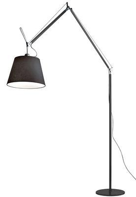 Luminaire - Lampadaires - Lampadaire Tolomeo Mega LED / Ø 36 cm - H 148 à 327 cm - Artemide - Noir / Pied alu - Aluminium poli, Tissu
