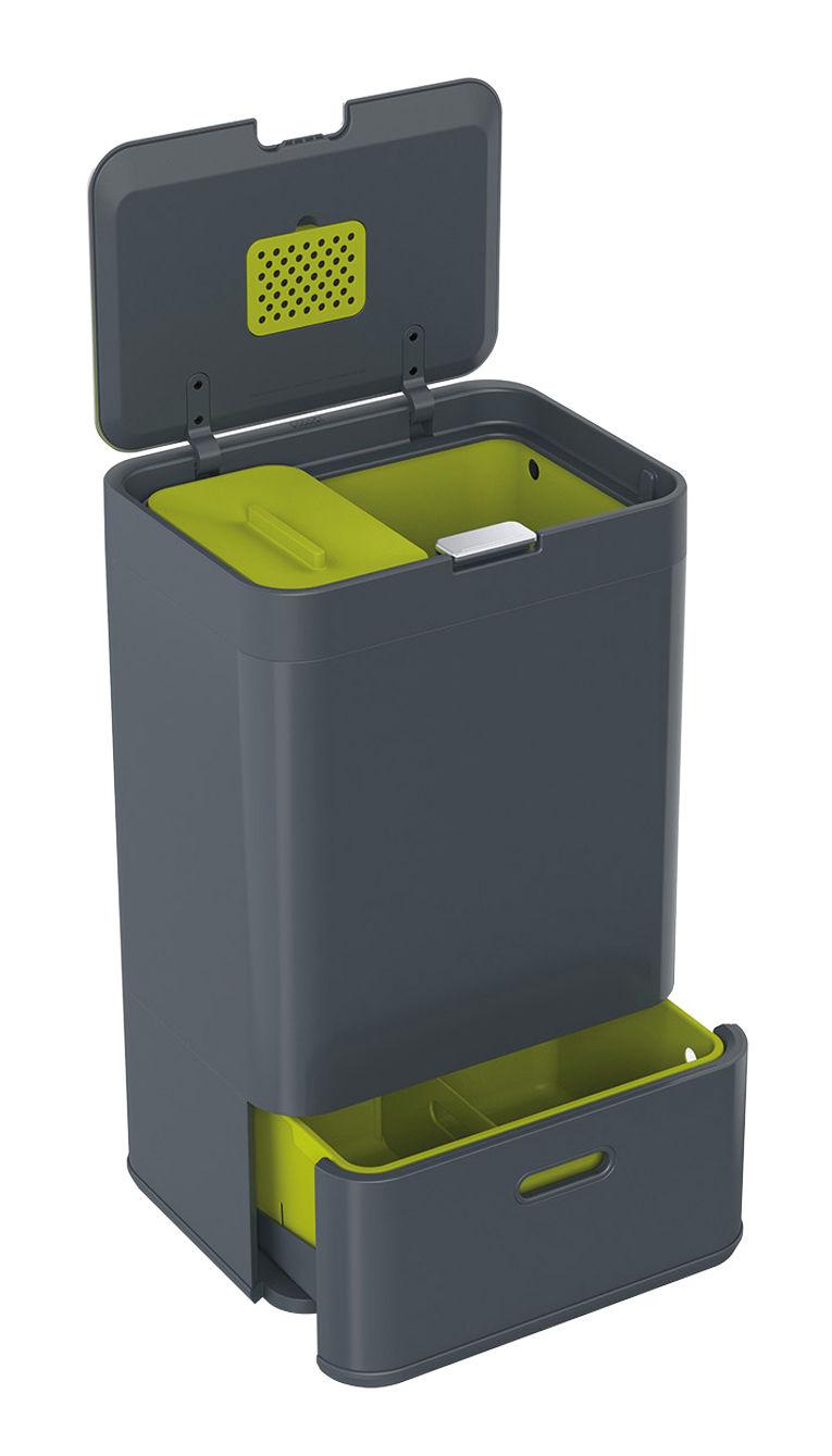 poubelle de tri totem 50 litres 4 bacs amovibles anthracite joseph joseph made in design. Black Bedroom Furniture Sets. Home Design Ideas