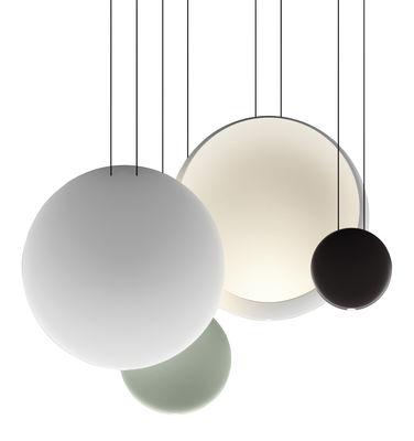 Luminaire - Suspensions - Suspension Cosmos LED / Set de 4 suspensions - L 86 cm - Vibia - Vert  Ø27 / Chocolat Ø19 / 2 x Blanc Ø48 - Polycarbonate
