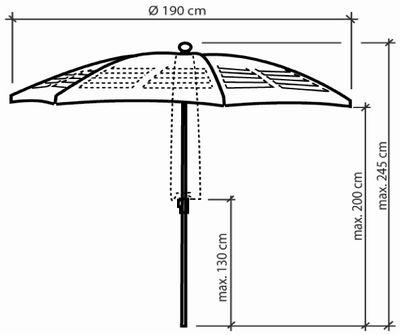 parasol mariline 250 cm 8 pans avec d coupes laser. Black Bedroom Furniture Sets. Home Design Ideas