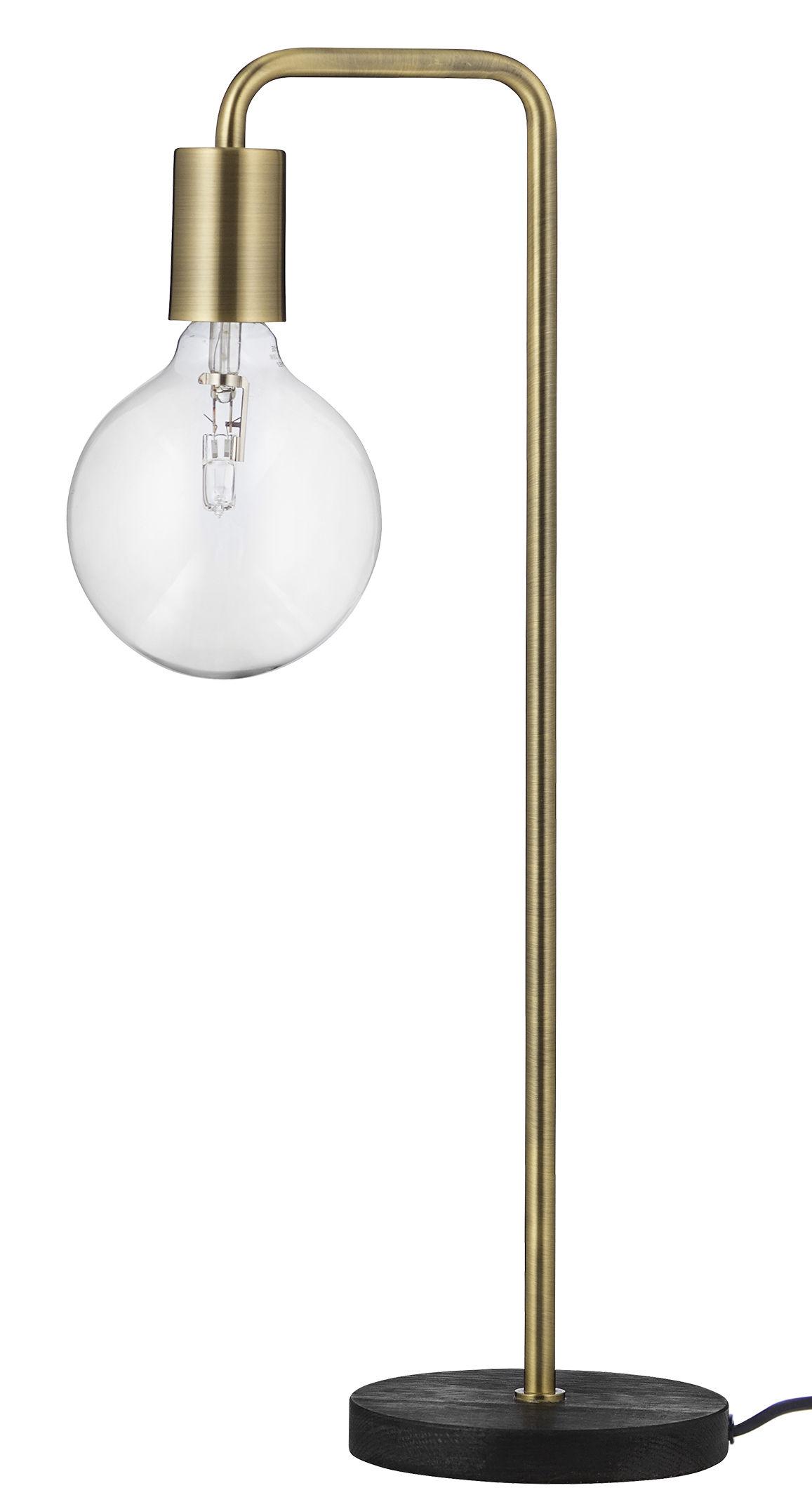 Scopri lampada da tavolo cool ottone base legno scuro for Lampada da tavolo design legno