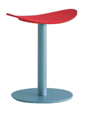 Furniture - Stools - Coma Stool - H 48 cm by Enea - Red - Light grey - Lacquered steel, Polypropylene