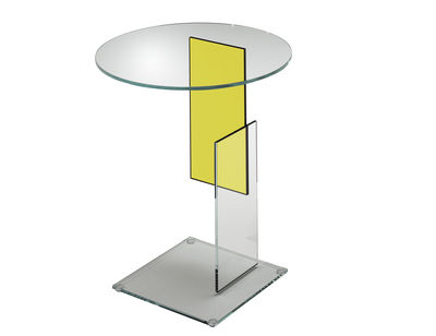 Furniture - Coffee Tables - Don Gerrit Coffee table by Glas Italia - Transparent / yellow - Glass