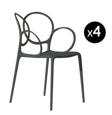 Sissi Outdoor Stapelbarer Sessel / 4er-Set: 3 kaufen + 1 GRATIS - Driade - Dunkelgrau