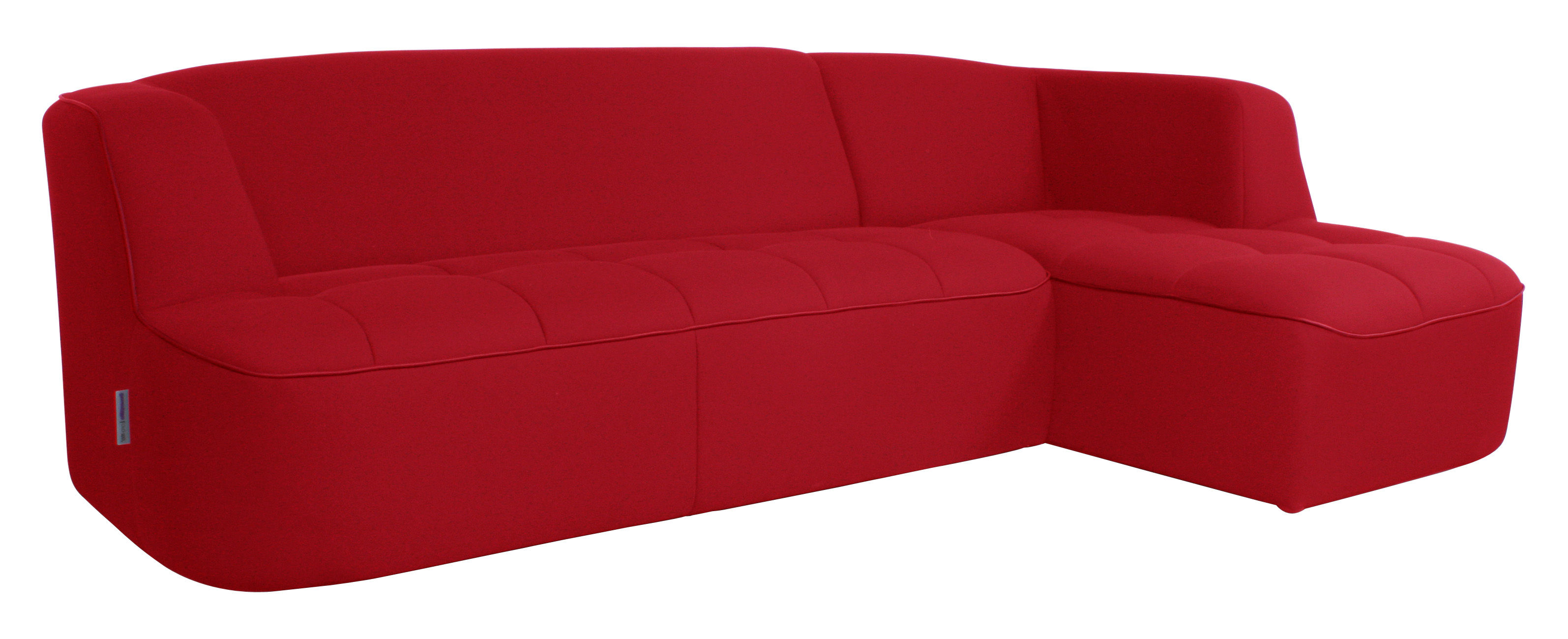 canap d 39 angle chesty corner by ora ito fixe angle droit l 250 cm rouge passepoil rouge. Black Bedroom Furniture Sets. Home Design Ideas
