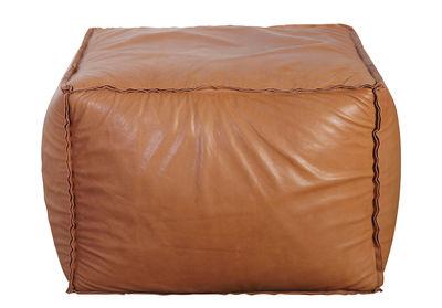 Mobilier - Poufs - Pouf Soft Brick en cuir véritable / 60 x 60 cm - House Doctor - Cuir marron - Cuir, Polystyrène