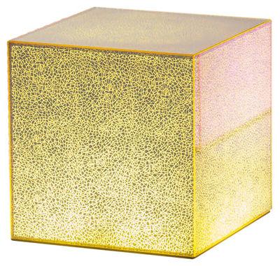 Table basse lumineuse Crack LED / 40 x 40 cm - Glas Italia jaune en verre