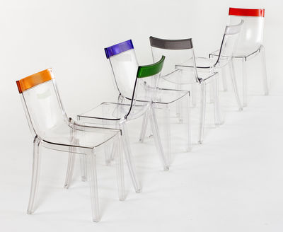 Furniture   Chairs   Hi Cut Stacking Chair   Transparent Polycarbonate By  Kartell   Cristal /