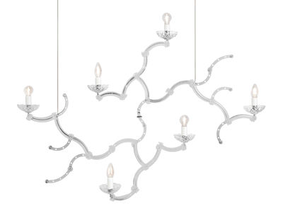 Ghebo Pendelleuchte / Glas & Metall - L 115 cm x H 81 cm - Karman - Weiß