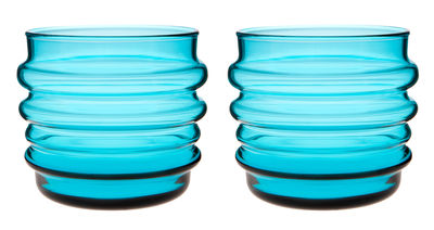 Arts de la table - Verres  - Gobelet Sukat Makkaralla / Set de 2 - Marimekko - Sukat Makkaralla / Turquoise - Verre soufflé bouche