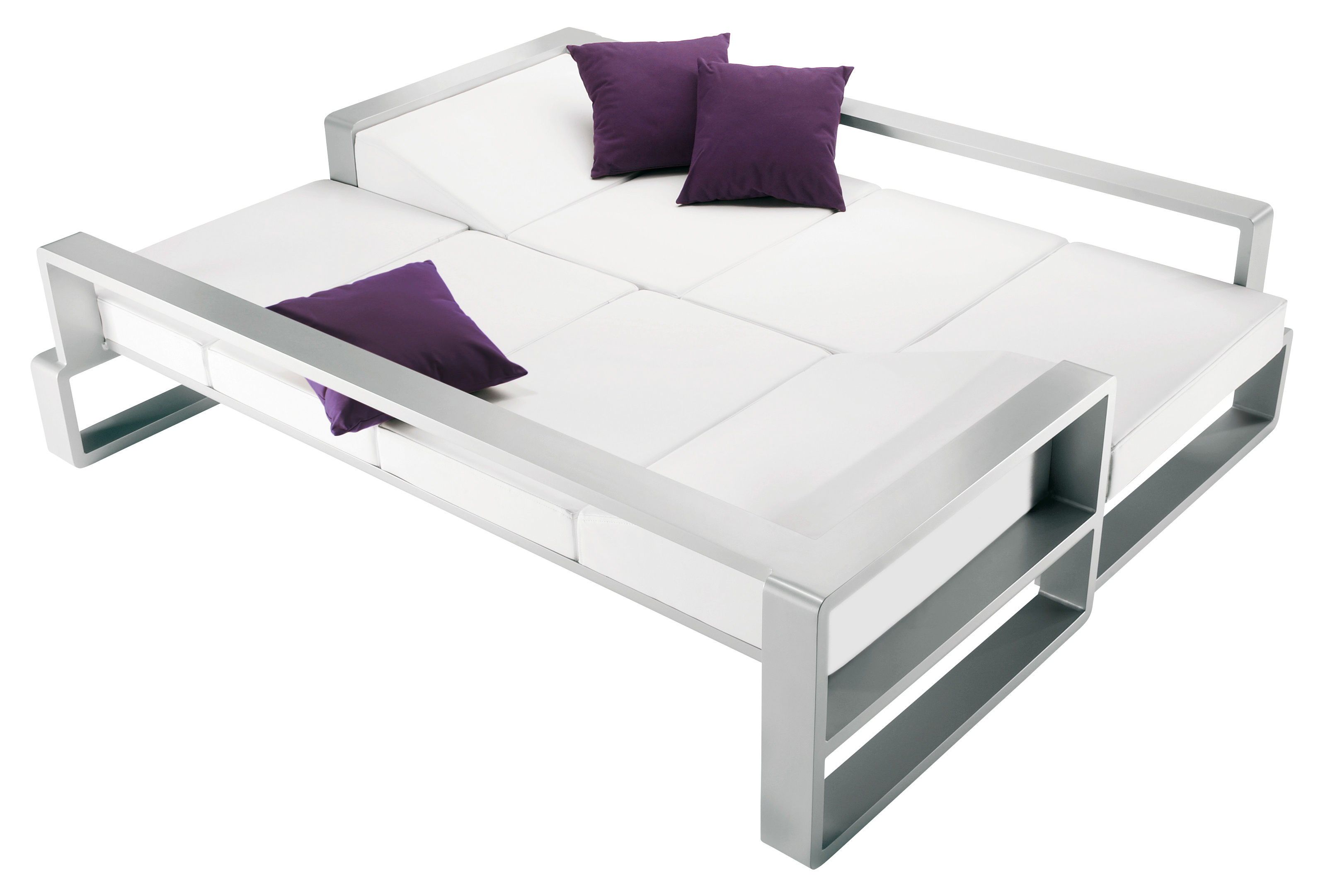 Kama Sofa Bed White Vinyl Silver Structure By Ego