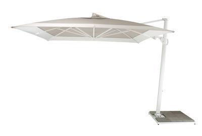 Jardin - Parasols - Parasol déporté Easy Shadow / 300 x 300 cm - Pivotant & inclinable - Sans base  - Vlaemynck - Gris caillou / Blanc - Aluminium laqué, Toile Sunbrella