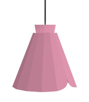 Luminaire - Suspensions - Suspension Ankara Medium / Ø 22 x H 21 cm - Matière Grise - Rose / Câble gris - Acier laqué