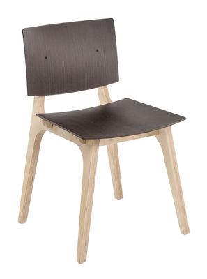 Mobilier - Chaises, fauteuils de salle à manger - Chaise Mikado / Bois - Ondarreta - Wengé / Bois naturel - Contreplaqué de bouleau, Stratifié wengé