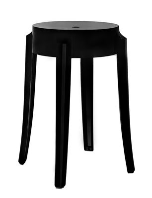 Tabouret empilable charles ghost h 46 cm plastique noir opaque kartell - Tabouret plastique empilable ...
