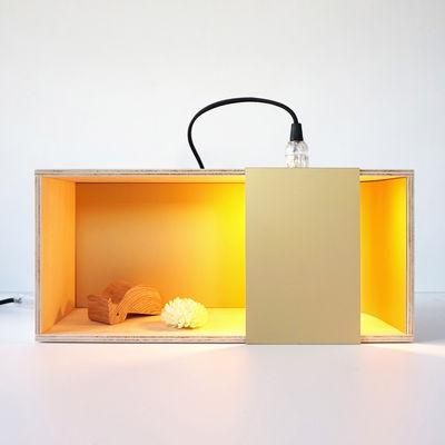 Luminaire - Lampes de table - Lampe de table Lux Box-s / A+A Cooren - Iconic Serie - Designerbox - Bois naturel / Or - Contreplaqué de peuplier naturel, Métal anodisé doré