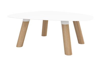 Tavolino basso Turtle Small / Legno & metallo - 50 x 40 cm - Universo Positivo - Bianco,Rovere naturale - Metallo