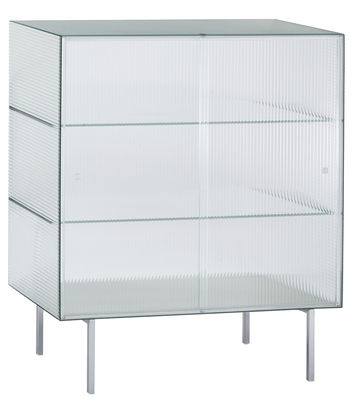 Credenza Commodore alta / Vetro a strisce - L 100 x H 120 cm - Glas Italia - Traslucido,Meetallo cromato - Vetro