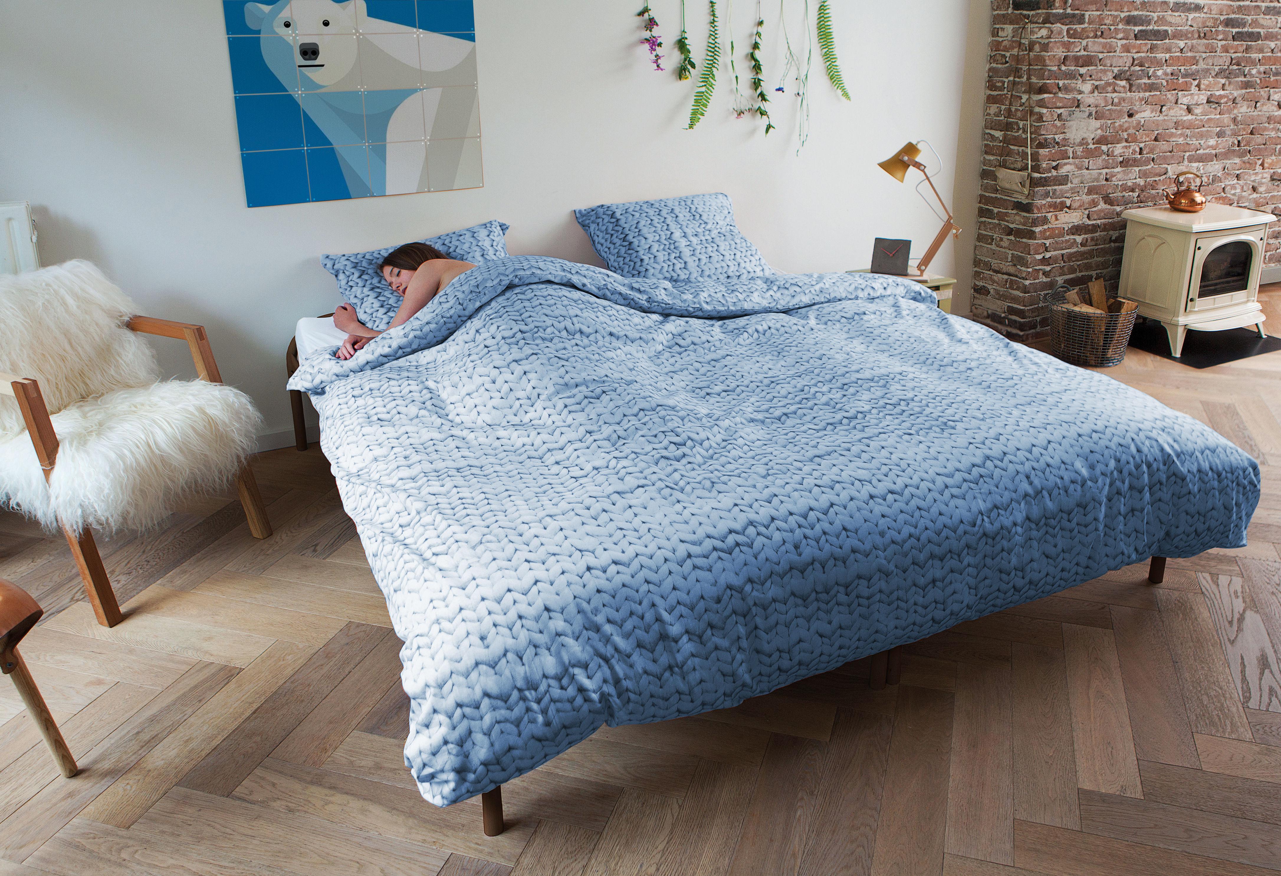 Parure de lit 2 personnes tricot 240 x 220 cm tricot - Parure de lit om 2 personnes ...