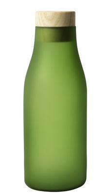 Arts de la table - Carafes et décanteurs - Carafe Gela / 0,85 L - Bouchon bois - Internoitaliano - Vert givré - Frêne, Verre soufflé