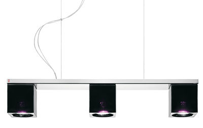 Suspension Cubetto - Black Glass 3 éléments - Fabbian noir,violet en verre