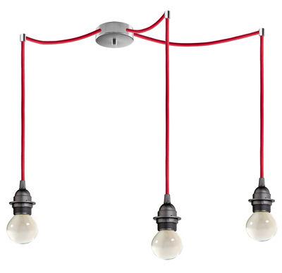 Suspension Bi Kage Triple / 3 câbles, douilles & rosace - Sotto Luce Rouge,Noir,Inox en Tissu