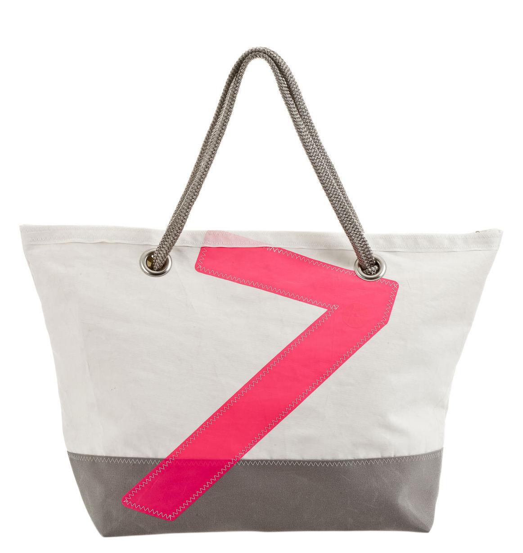 sac week end carla dacron voile bateau recycl e gris blanc chiffre rose 727 sailbags. Black Bedroom Furniture Sets. Home Design Ideas