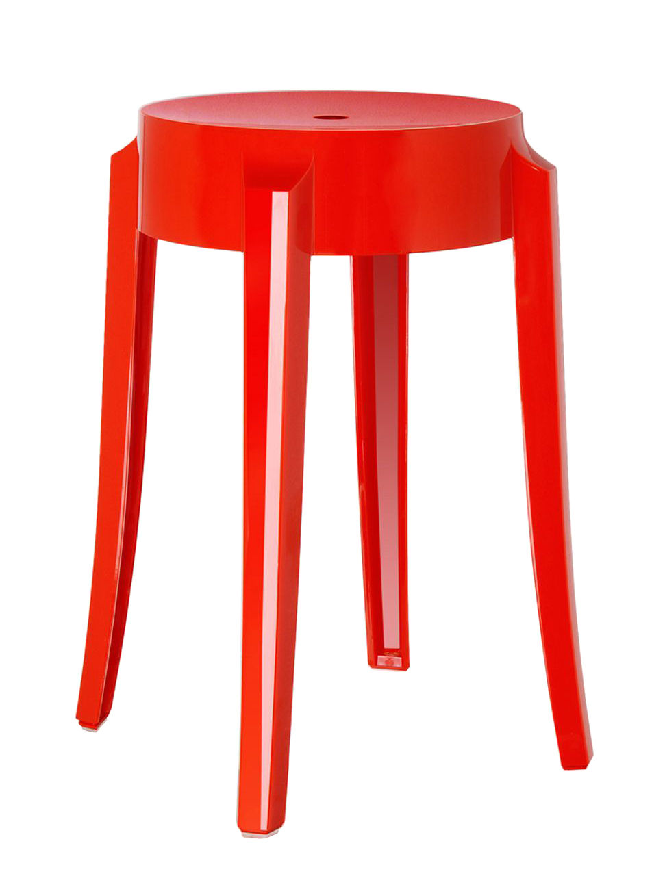 tabouret empilable charles ghost h 46 cm plastique rouge opaque kartell. Black Bedroom Furniture Sets. Home Design Ideas