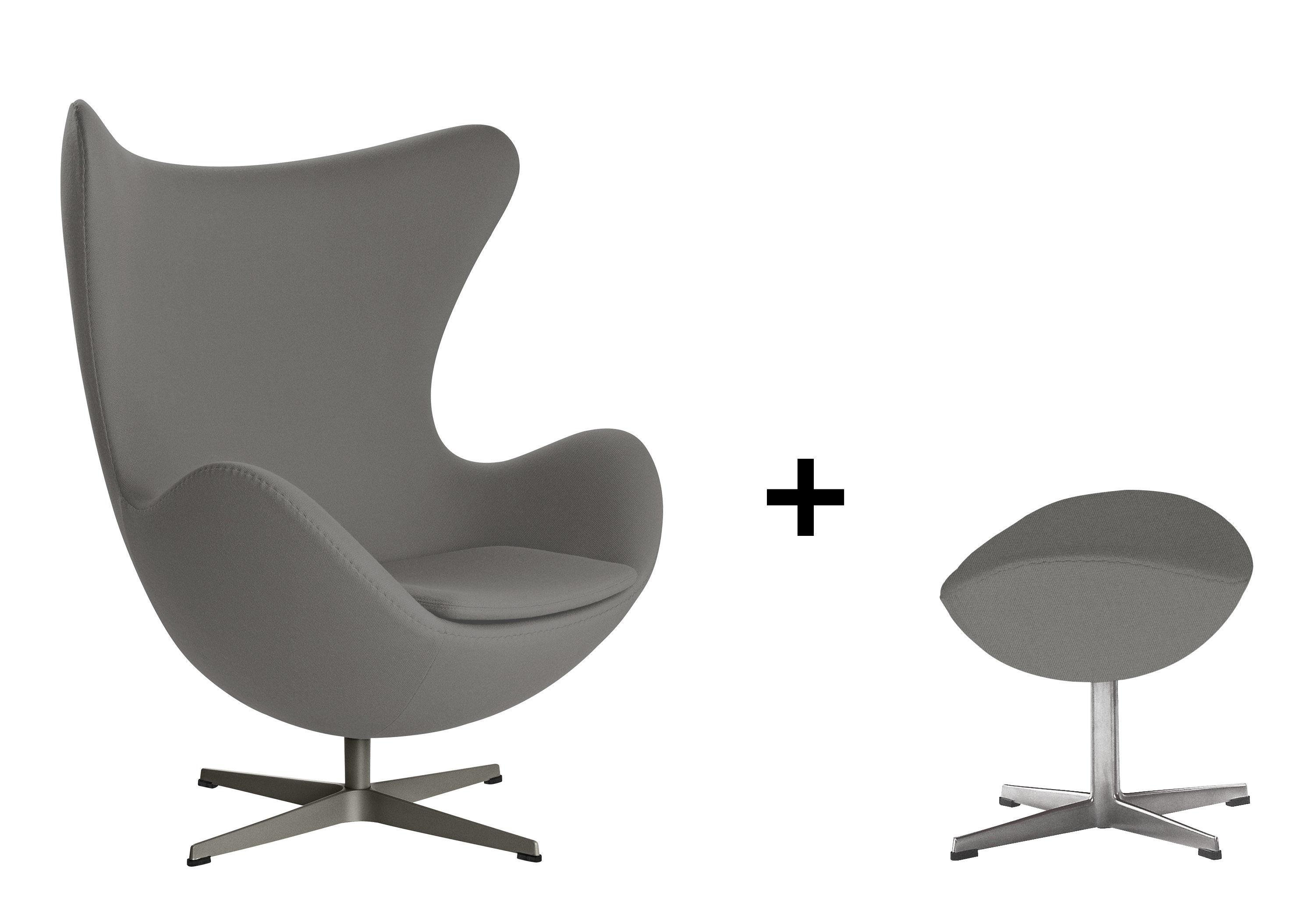fauteuil pivotant egg chair tissu gabriele offert 1 repose pieds gris fonc fritz hansen. Black Bedroom Furniture Sets. Home Design Ideas