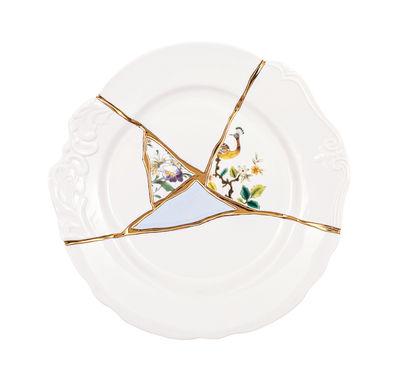 Assiette Kintsugi / Porcelaine & or fin - Seletti blanc,multicolore,or en céramique