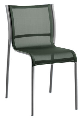 Chaise empilable Paso Doble / Toile - Alu poli - Magis vert,chromé en tissu
