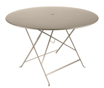 Table pliante Bistro Ø 117 cm 6 8 personnes Trou parasol Fermob muscade en métal