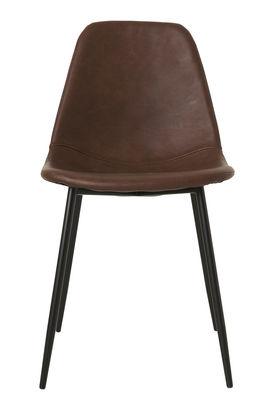 Mobilier - Chaises, fauteuils de salle à manger - Chaise rembourrée Forms / Similicuir & acier - House Doctor - Marron - Acier, Similicuir