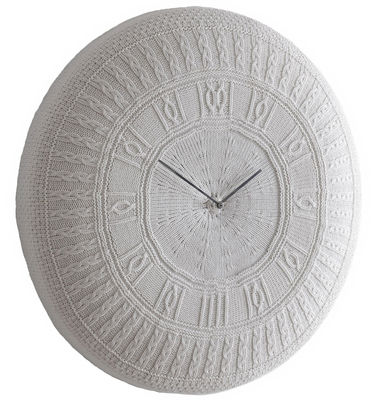 Horloge murale Gomitolo Large / Coton - Ø 90 cm - Diamantini & Domeniconi blanc cassé en tissu