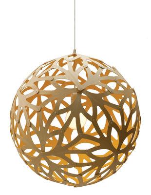 Luminaire - Suspensions - Suspension Floral / Ø 40 cm - Bicolore jaune & bois - David Trubridge - Jaune / Bois naturel - Pin