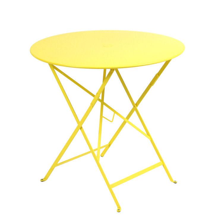 Table pliante bistro 77cm trou pour parasol citron - Table pliante pour studio ...