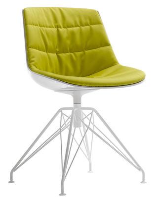 Mobilier - Chaises, fauteuils de salle à manger - Chaise pivotante Flow / Rembourrée - 4 pieds LEM - MDF Italia - Tissu jaune-vert / Coque blanche / Pied blanc - Acier peint, Polycarbonate, Tissu