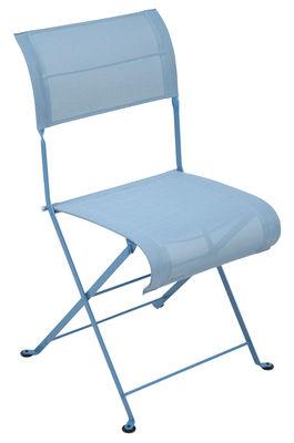 Mobilier - Chaises, fauteuils de salle à manger - Chaise pliante Dune / Toile - Fermob - Turquoise - Acier laqué