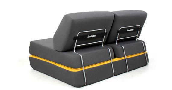 canap convertible d 39 night l 150 cm gris anthracite jaune dunlopillo made in design