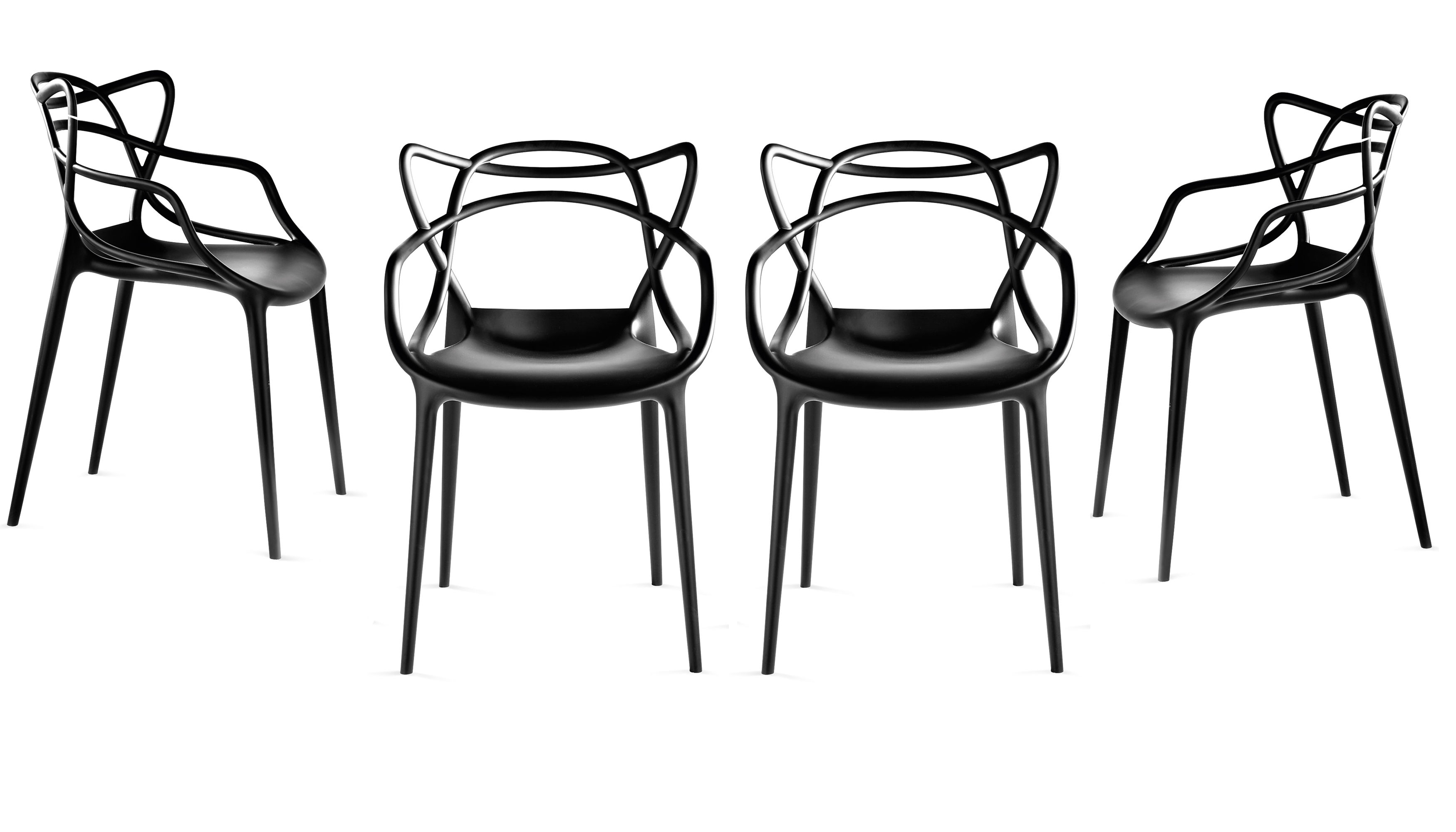 Masters Stackable armchair Plastic Set of 4 Black by Kartell