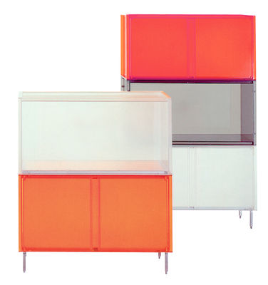 caisson one avec pieds avec portes gris kartell. Black Bedroom Furniture Sets. Home Design Ideas